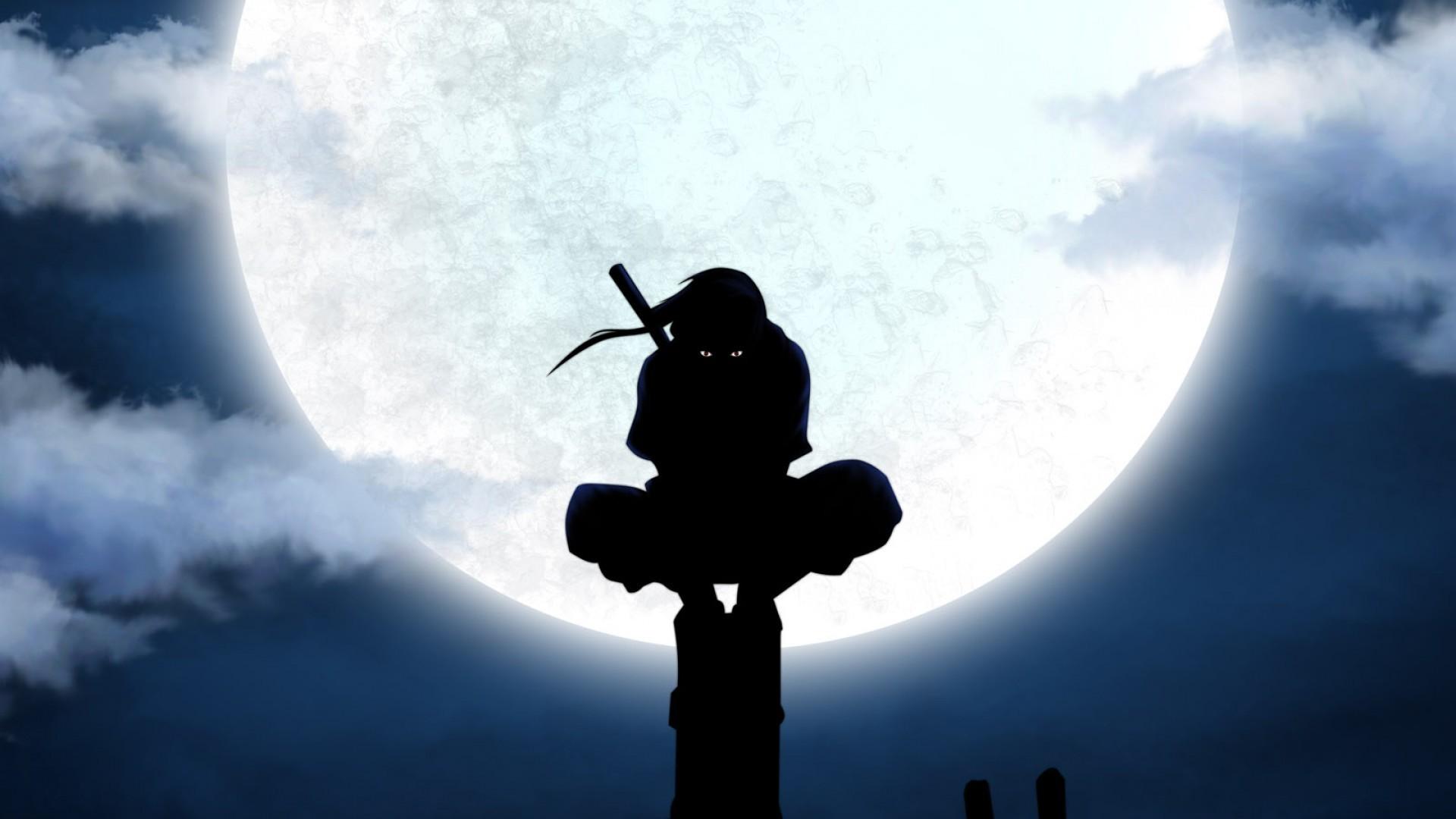 uchiha itachi moon silhouette anbu anime utility pole