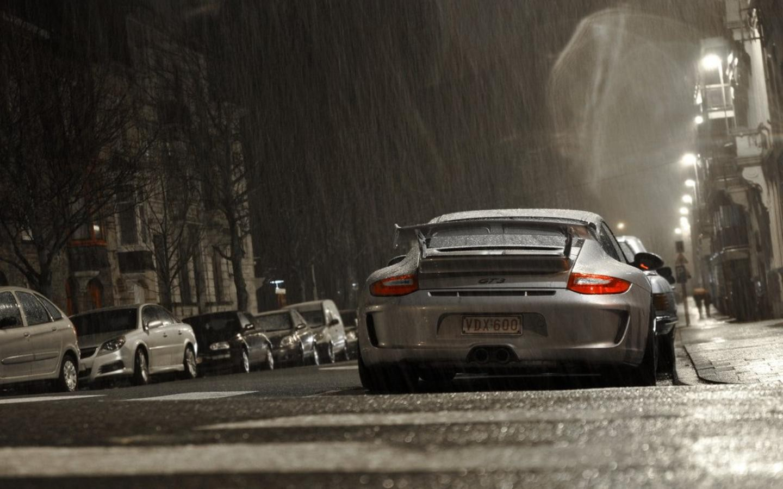 vehicle rain porsche porsche 911 gt3 car