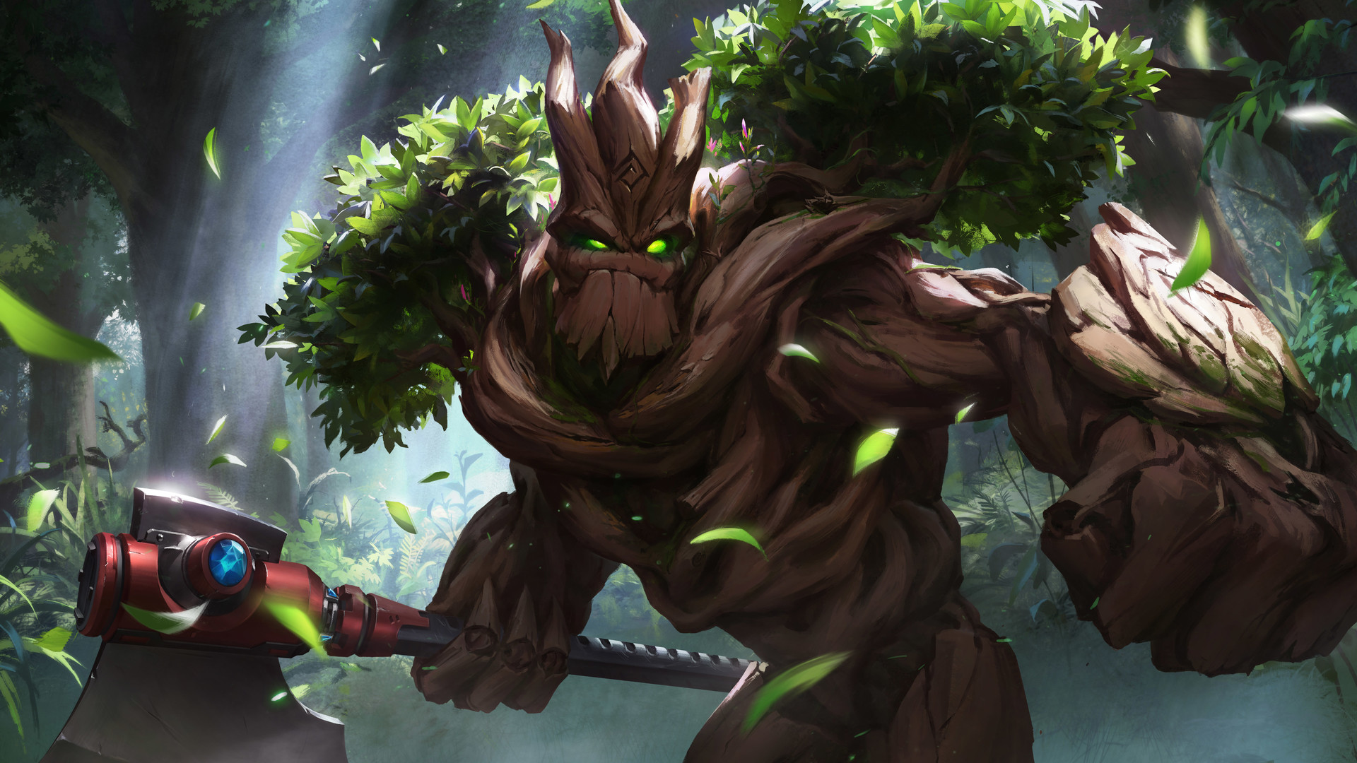 axe xiao guang sun paladins: champions of the realm trees foliage