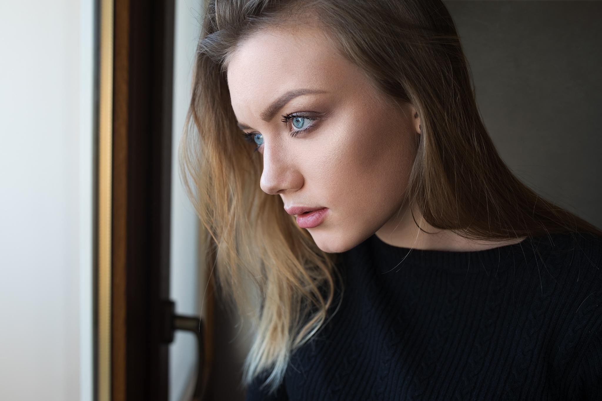 blue eyes looking away indoors dmitry shulgin blonde face women indoors katya profile women dmitry sn model sweater portrait