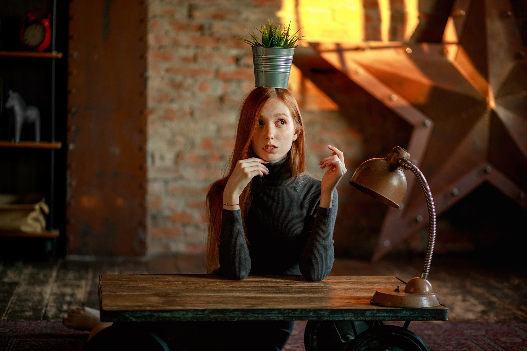 bokeh igor kuprianov on the floor dress humor model looking away indoors barefoot vases desk lamp women indoors carpets redhead plants