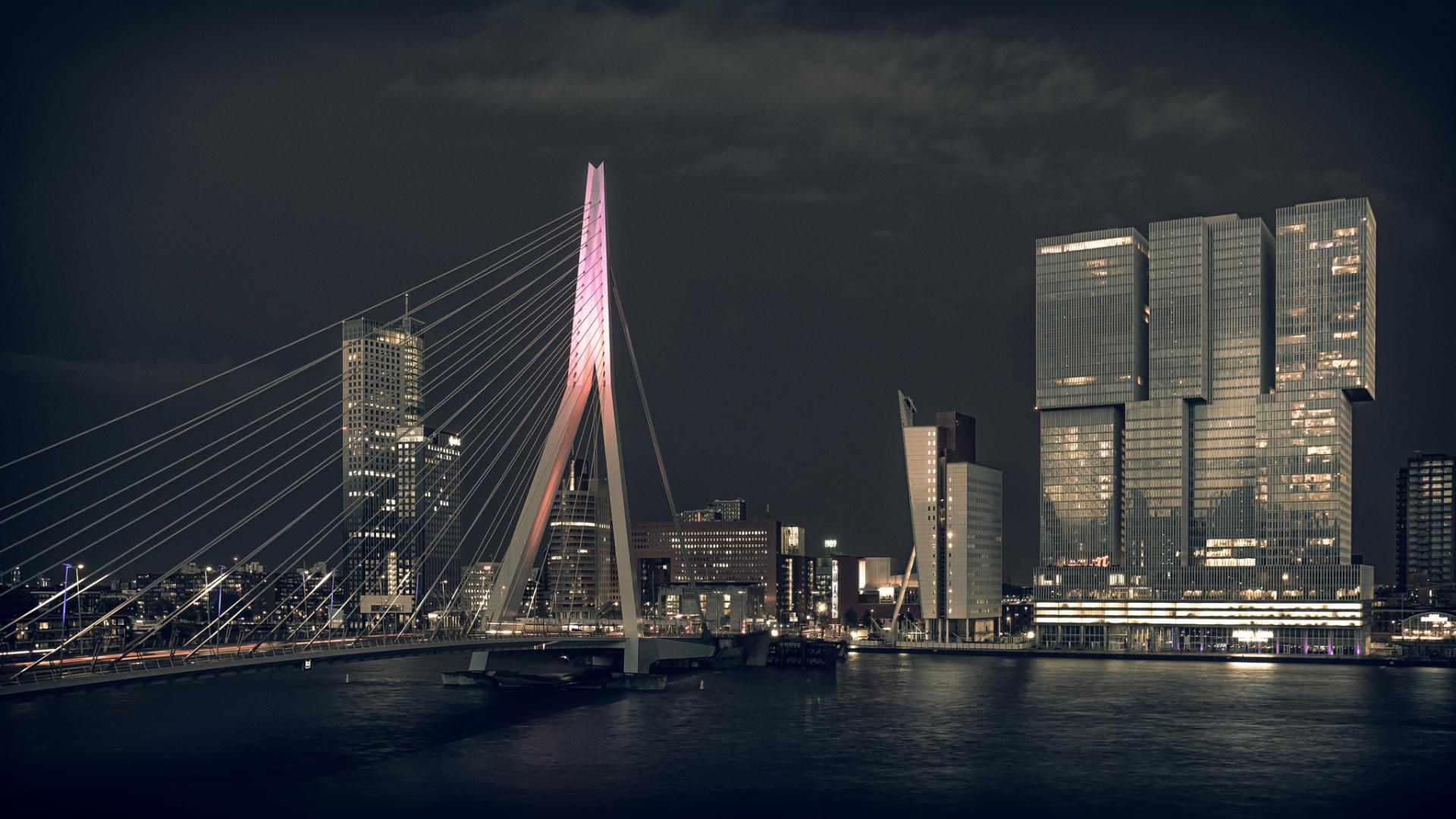 building rotterdam architecture night river netherlands cityscape skyscraper bridge