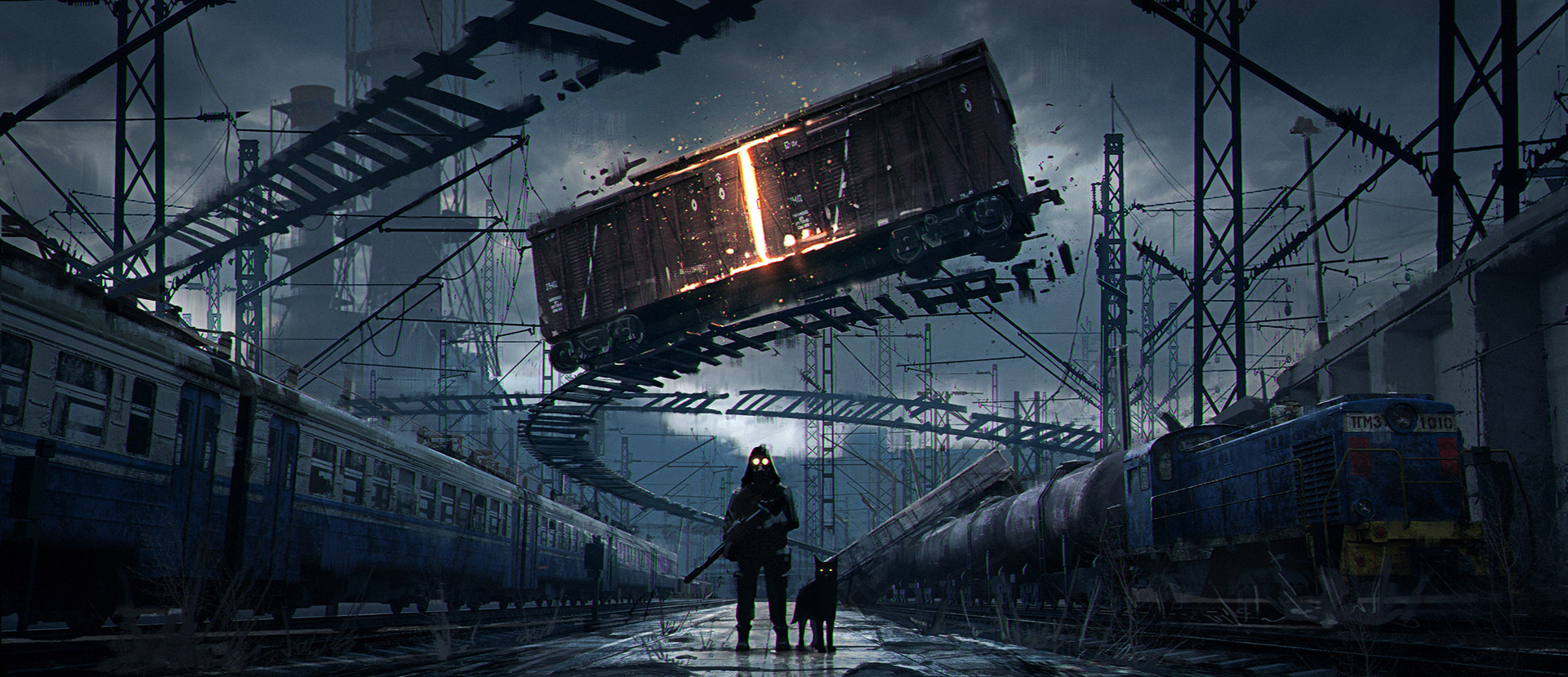 clouds dark gas masks artwork surreal apocalyptic digital art train dog science fiction sky standing concept art rifles environment