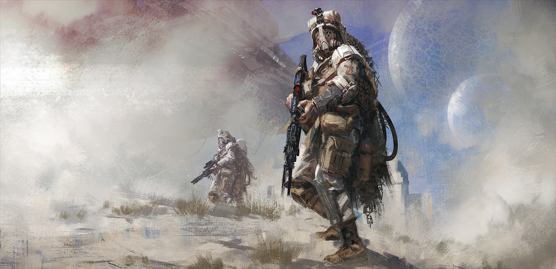 concept art painting desert apocalyptic camouflage joakim ericsson gas masks soldier artwork science fiction rifles digital art futuristic illustration