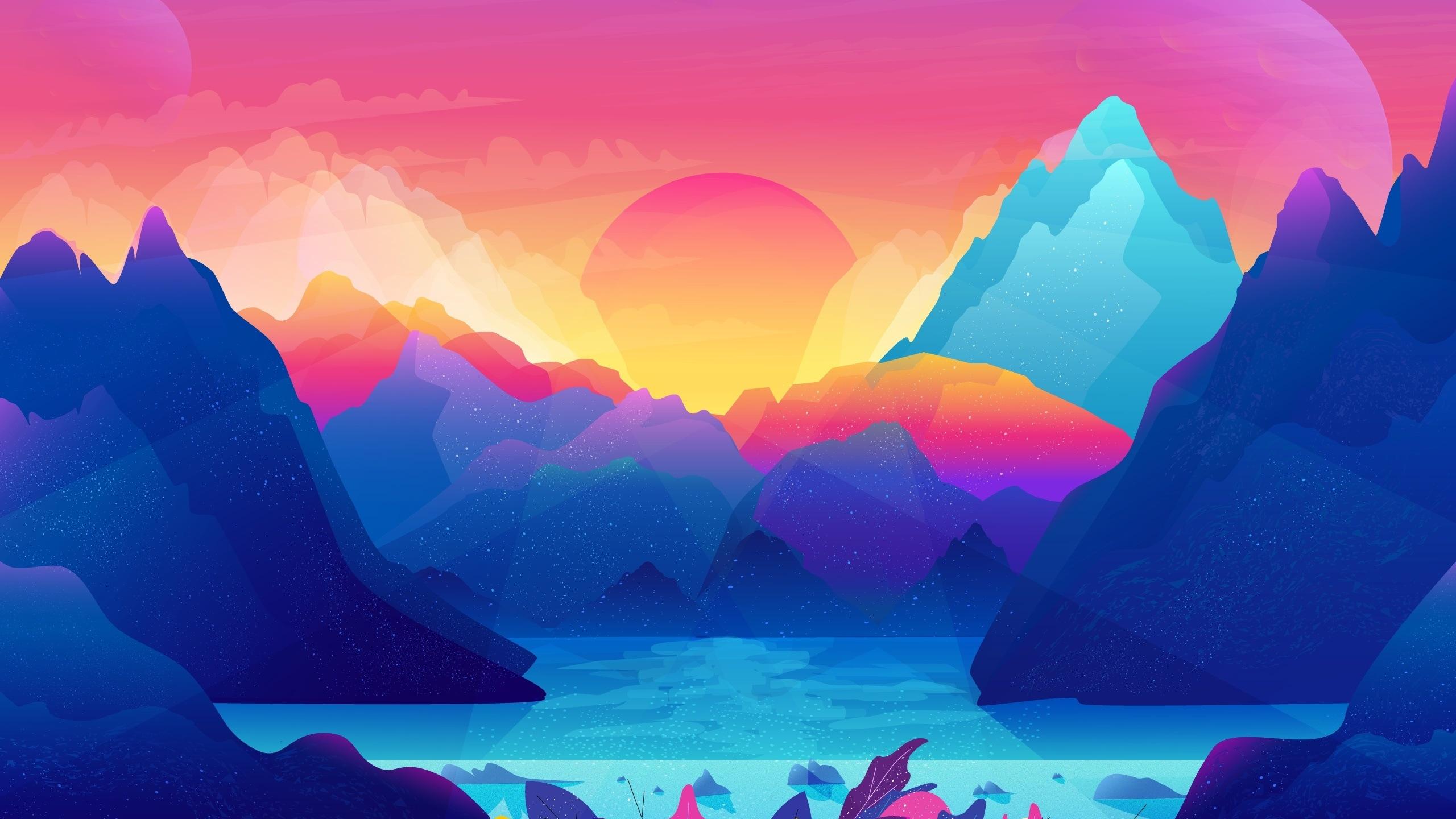 cyan digital art mountains sunset pink