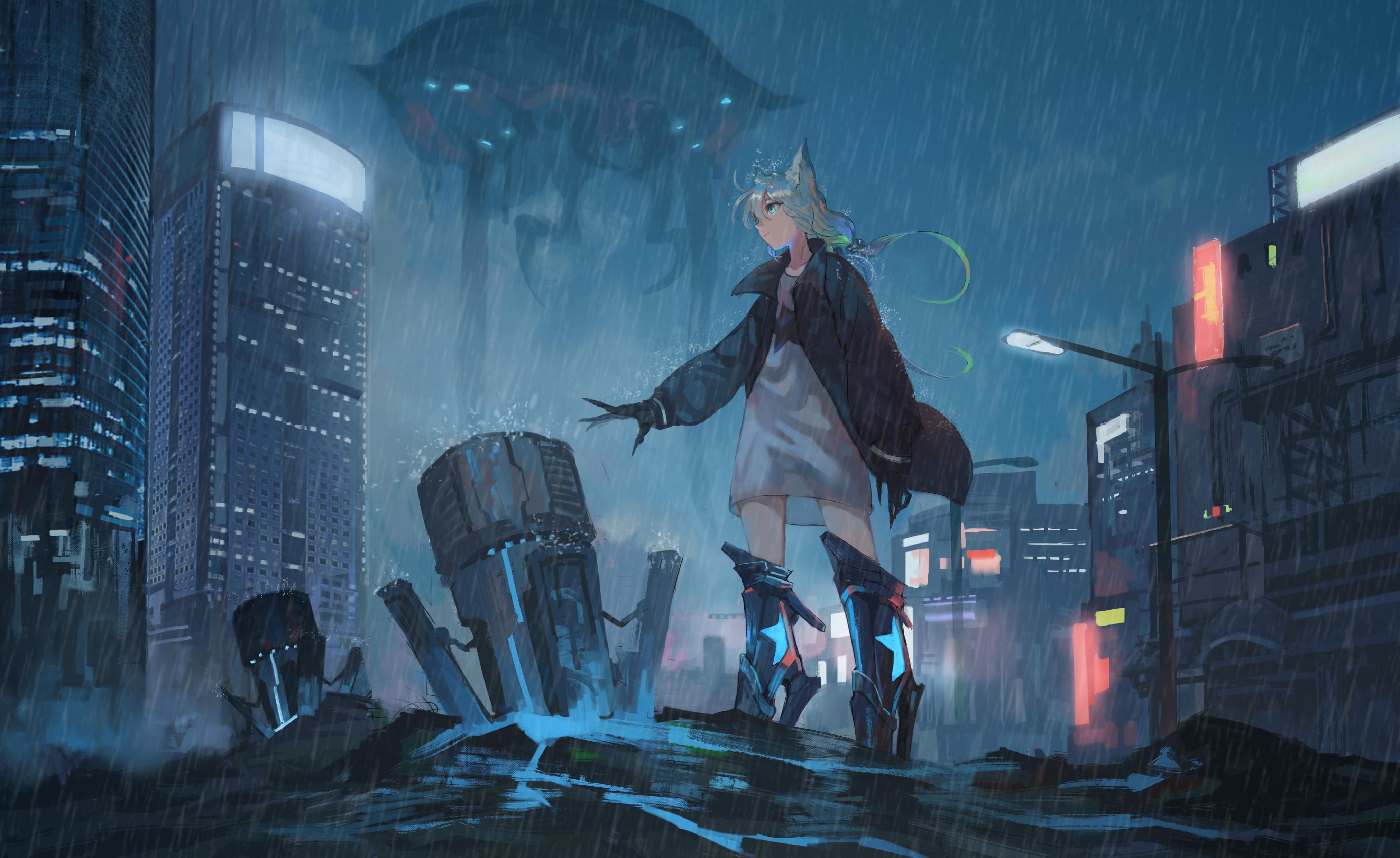 dark anime girls cityscape anime girls anime anime: gamers! rain
