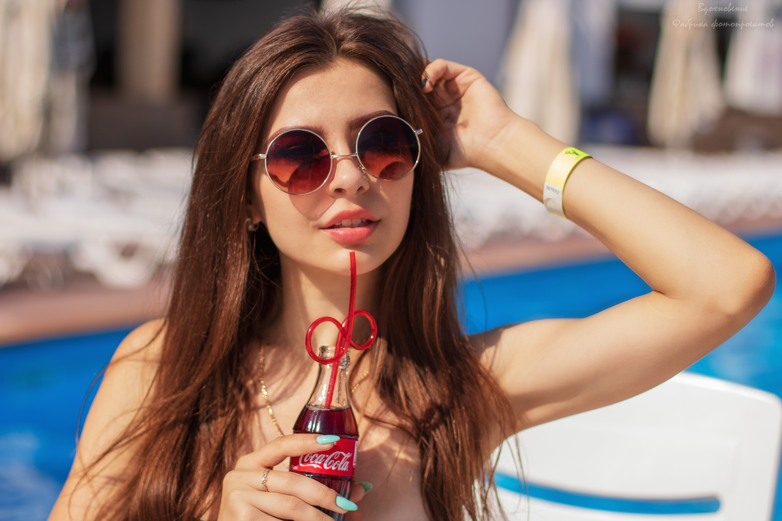 depth of field sunglasses painted nails women looking away necklace coca-cola model bare shoulders long hair portrait women outdoors women with shades brunette pink lipstick