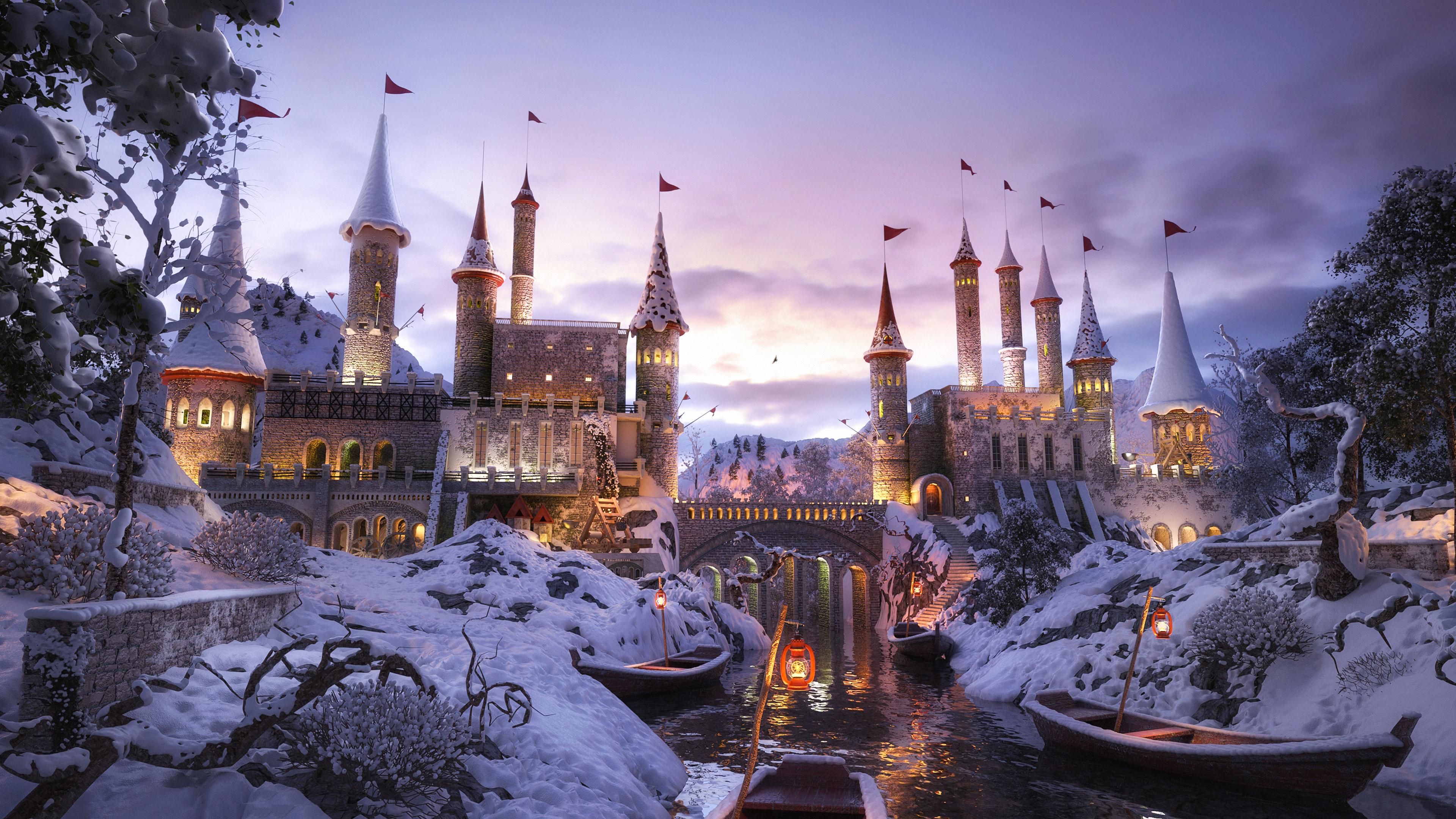 digital art snow boat river castle