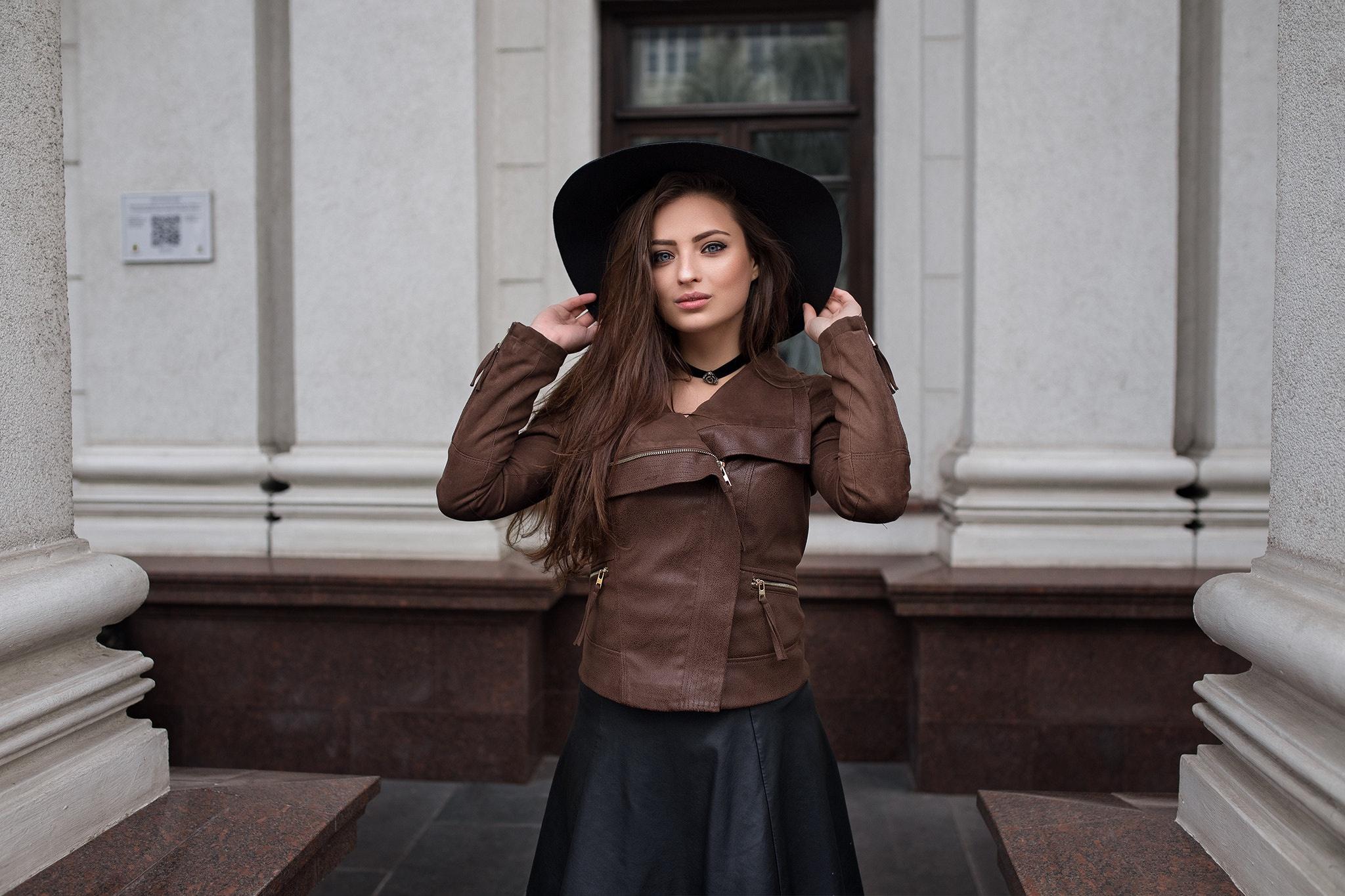 dmitry shulgin black hat model leather jackets black skirts brown jacket leather skirts women veronika avdeeva brunette women with hats veronica (dmitry sn) hat