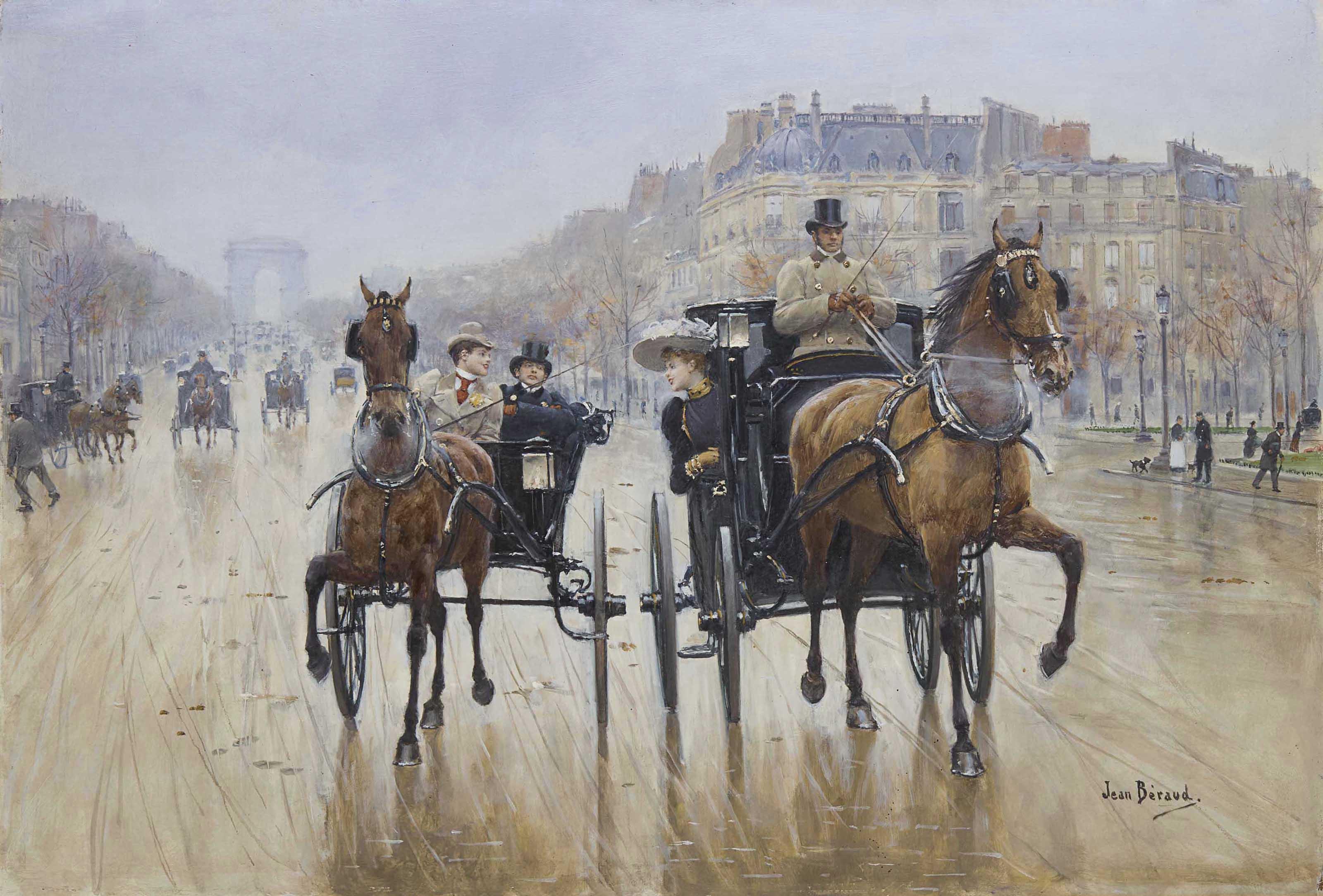 jean beraud classical art painting cityscape paris artwork horse