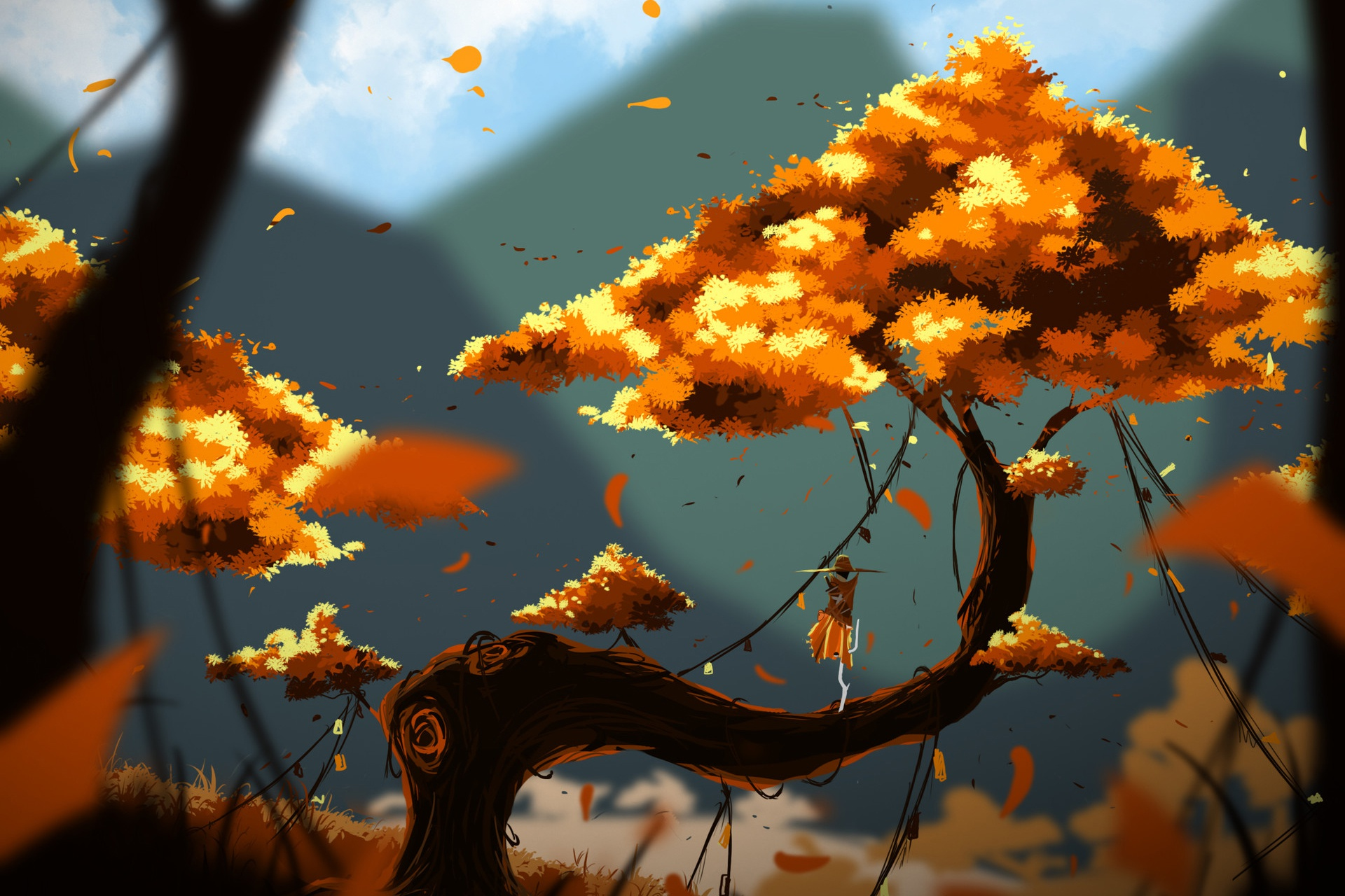 kung fu panda fall artwork branch landscape fallen leaves plants digital art blurred leaves nature trees