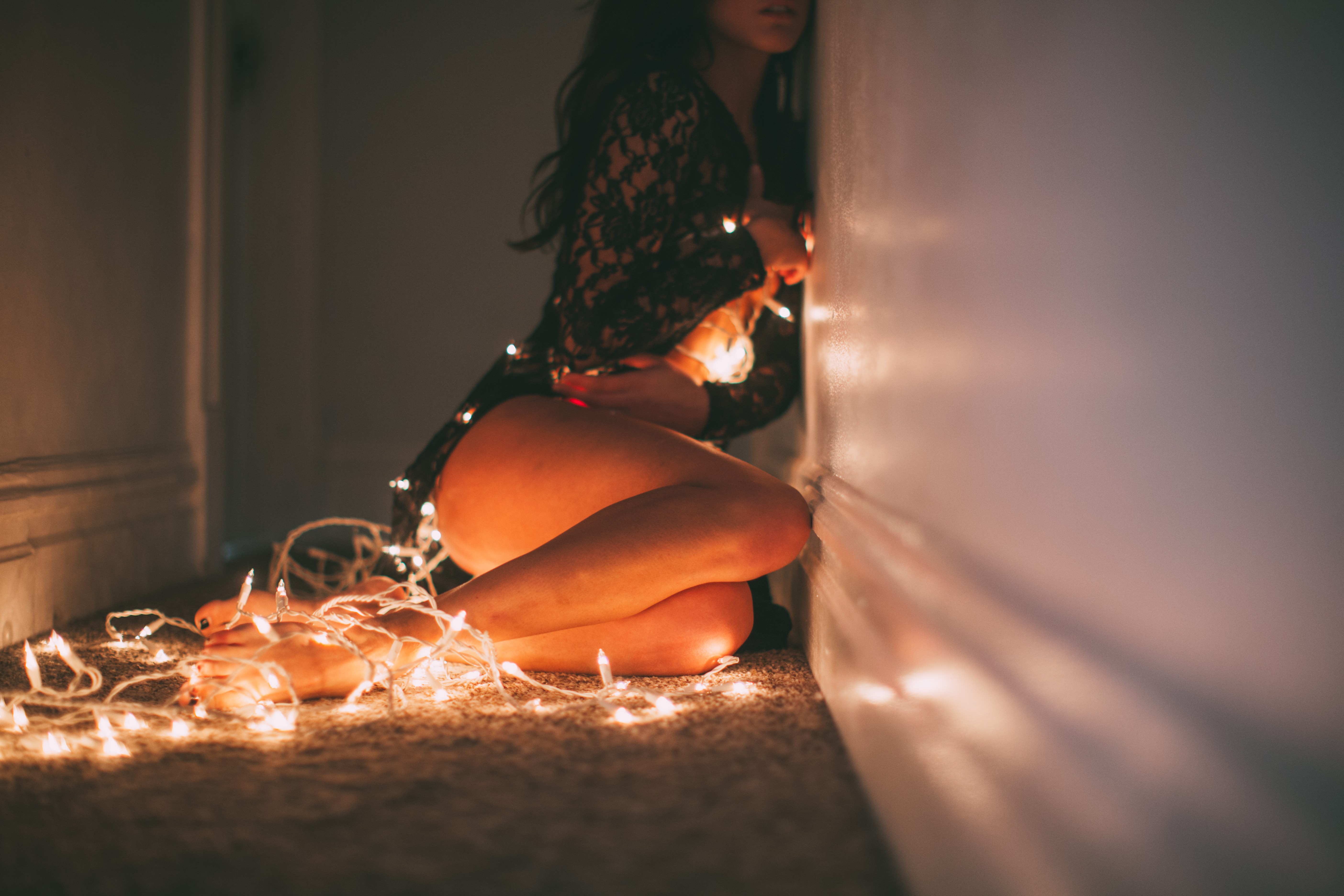 legs christmas lights women open mouth lights