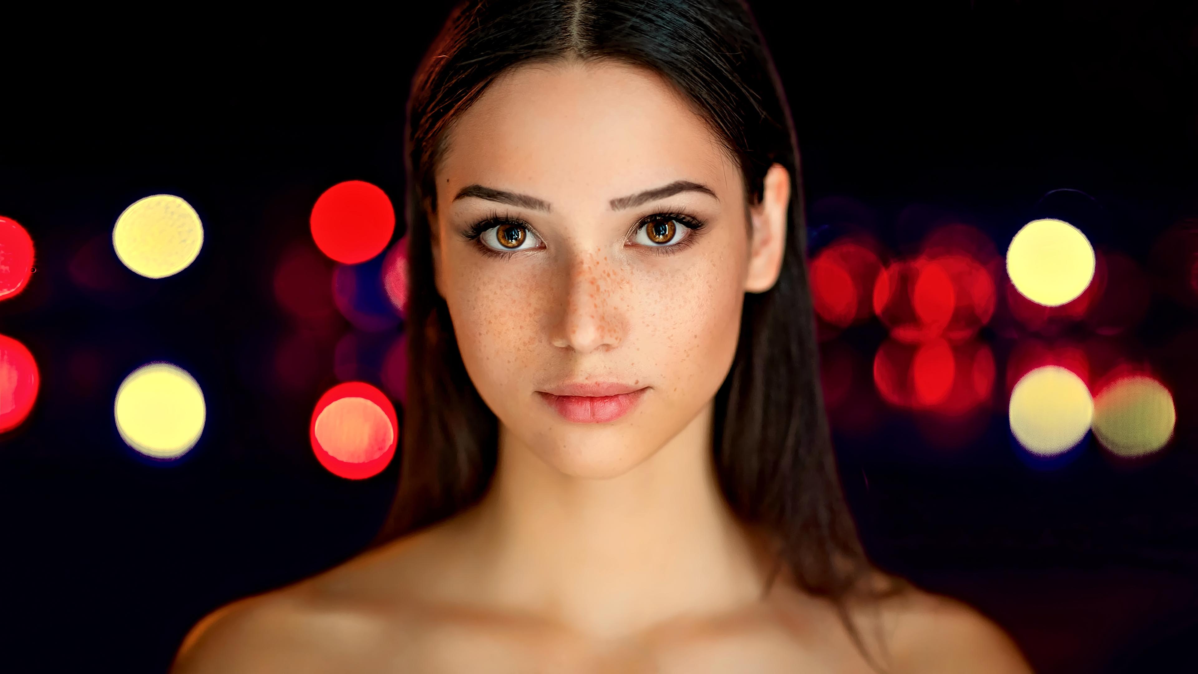mariya volokh brunette freckles face long hair portrait women model