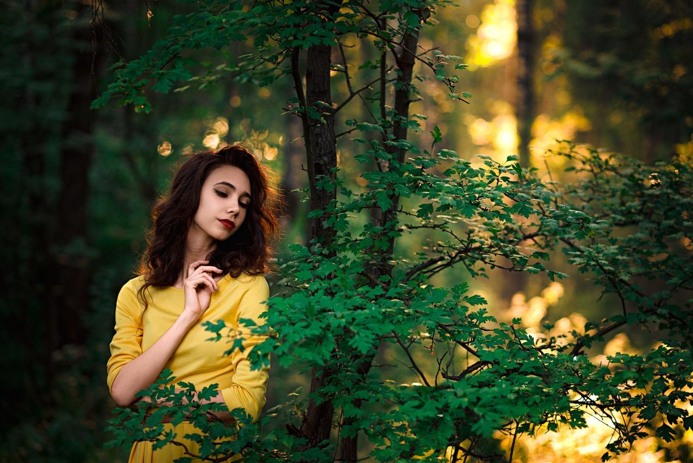 outdoors leaves depth of field trees red lipstick dress portrait model brunette forest women sun rays women outdoors