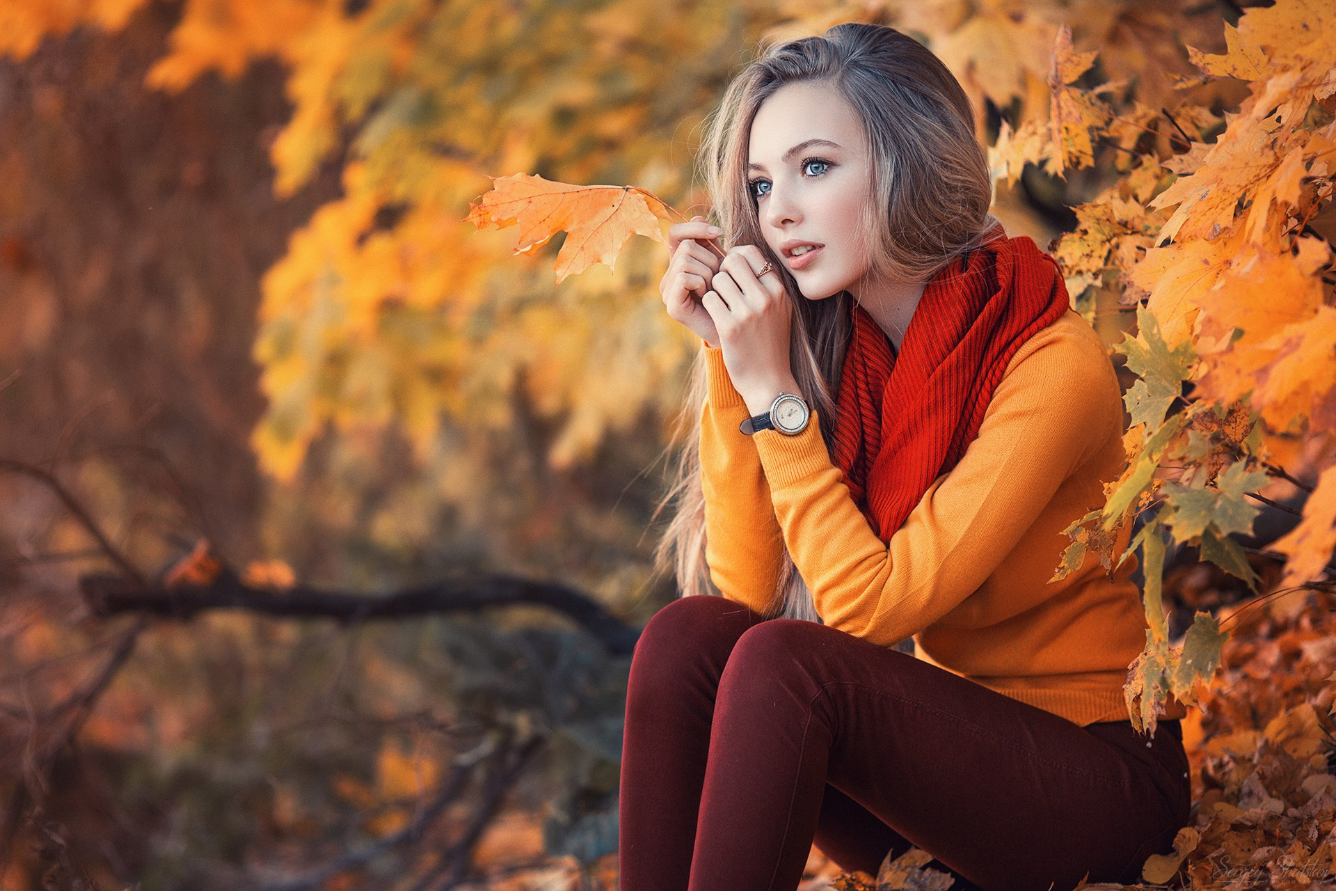outdoors long hair yellow sweater looking away leaves women watch blonde branch fall model jeans sitting sweater forest