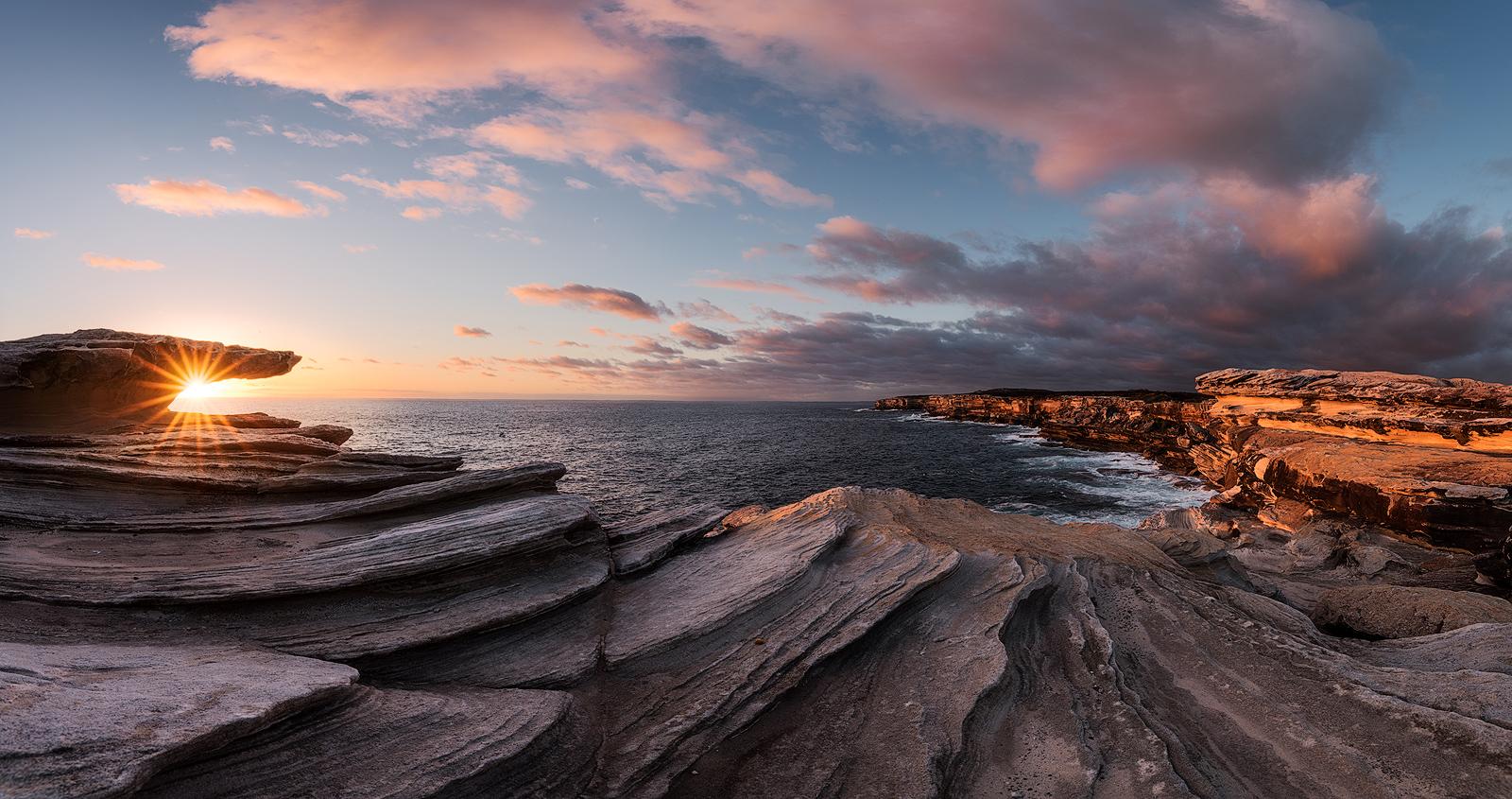 sea australia rock sydney sun sunset horizon
