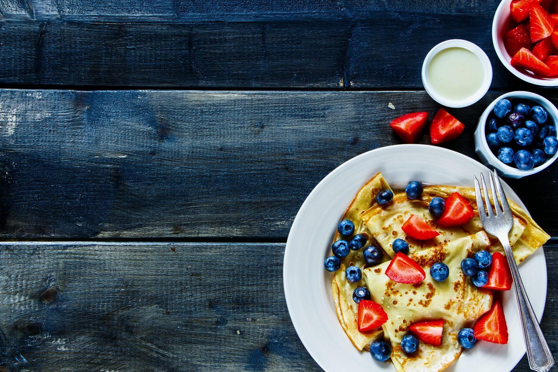 strawberries fruit pancakes food