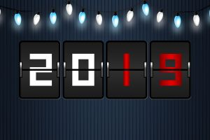 2019 (year) numbers new year blue background