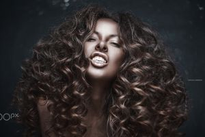 500px brunette portrait anton harisov curly hair women long hair face