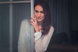500px looking at viewer model brunette women sweater