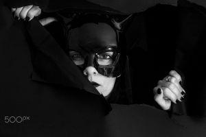 500px monochrome women mask face catwoman