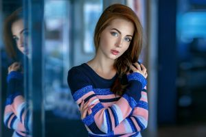 500px sweater blue eyes redhead model portrait painted nails reflection hands in hair face depth of field women