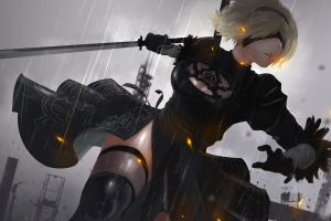 88 girl girl with weapon nier nier: automata