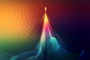 abstract artwork spaceship rocket colorful