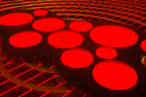 abstract shapes line art red neon glowing circle grid geometry 3d abstract