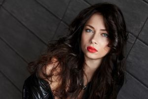 actress brunette blue eyes long hair russian women nastasya samburskaya red lipstick looking at viewer singer women