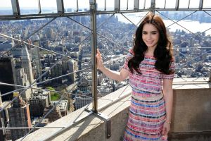 actress dress long hair women new york city brunette smiling happy celebrity lily collins depth of field
