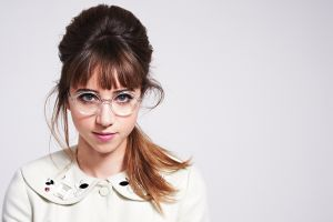 actress simple background zoe kazan women women with glasses