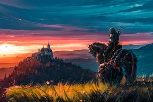 aenami grass video games kingdom horse painting the witcher castle sky evening warrior geralt of rivia sword the witcher 3: wild hunt - blood and wine