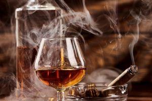 alcohol drinking glass smoking cognac smoke cigars