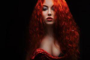 alexander drobkov model black background red lipstick makeup women simple background long hair redhead
