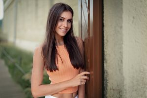 alexander drobkov robert chrenka brunette orange tops portrait long hair smiling belly button women