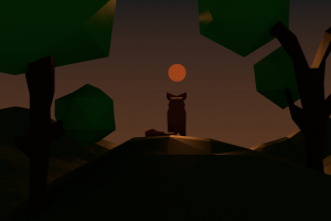alone low poly fox sunset nature