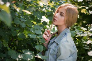 andrey vechkenzin denim women women outdoors jeans jacket holding hair painted nails blonde jeans portrait