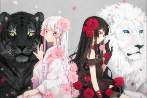 animals colorful flower in hair anime girls dark hair anime