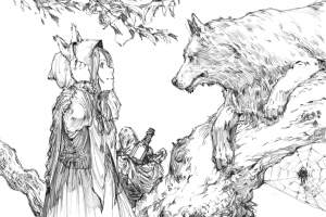 anime 2015 (year) monochrome drawing fairy tale anime girls red riding hood