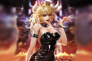 anime anime blonde picture-in-picture bowsette leather clothing cleavage