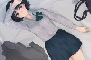 anime anime girls dark hair miniskirt
