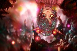 anime anime girls horns face fantasy art