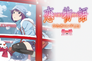 anime artwork anime girls winter senjougahara hitagi white skin purple hair monogatari series black stockings white
