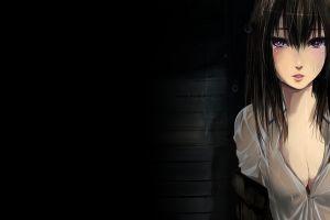 anime black hair anime girls cleavage purple eyes black hair