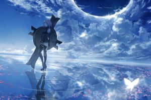 anime blue anime grasoso clouds shielder (fate/grand order) anime grasoso anime girls sky fantasy girl reflection anime girls