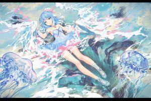 anime blue eyes legs water anime girls blue hair