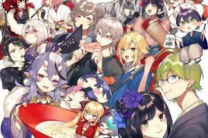 anime boys anime girls open mouth green hair smiling anime blonde