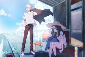 anime boys hat bench anime girls sitting urban