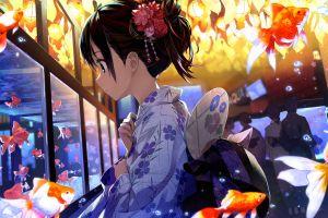 anime brunette fish tank flower in hair kimono anime girls fish hairbun
